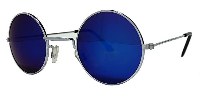 877a4102e79 Men s Women s Small Round Lennon Style Sunglasses Blue Mirror Lens Silver  Frame Cat ...