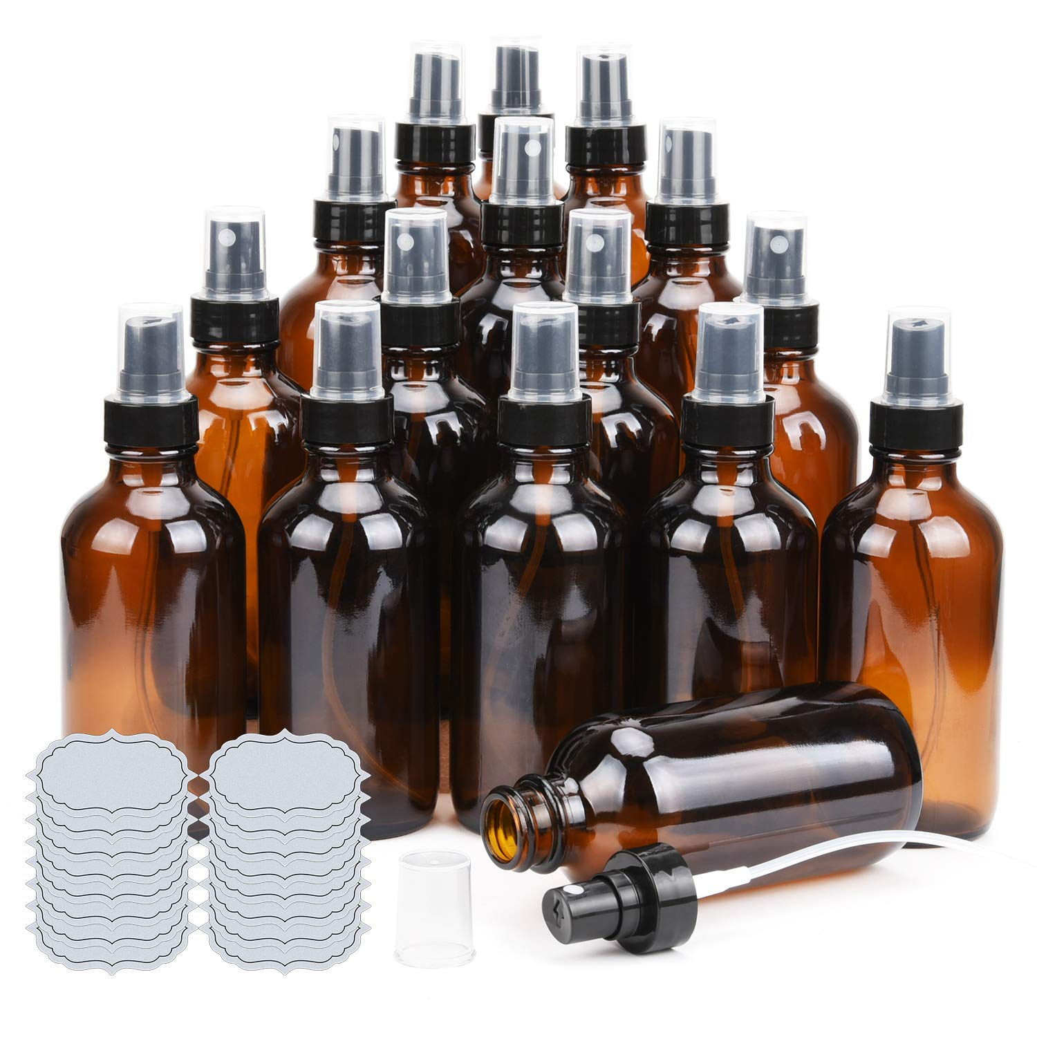 Amber Glass Spray Bottles 4oz ULG Fine Mist Sprayers Empty Spray Atomizer for Essential Oils Aromatherapy Cosmetic Sprays Including Waterproof DIY Labels 16 Piece
