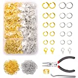 YUGARUZY Open Jump Rings Kit, 1200PCS Open Jump Rings and Lobster Clasps Jump Rings Opener Pliers Tweezers for Jewelry Making