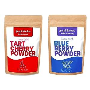 Jungle Powders Fruit Powder Bundle | Tart Cherry & Blueberry 3.5oz 100% Freeze Dried Fruit Powder Vegan Friendly Tart Cherry Extract | Natural Food Coloring Unsweetened Blueberry Superfood Powder