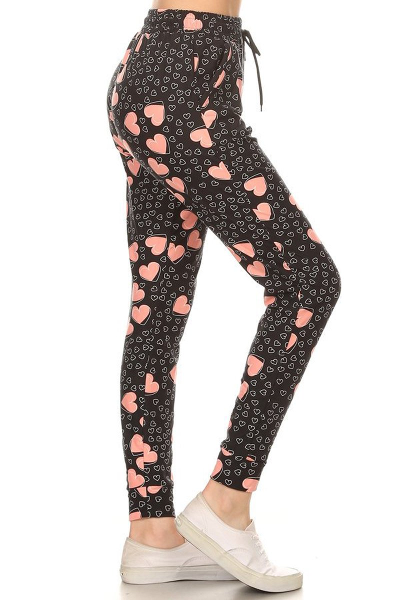 Leggings Depot Women's Printed and 3-Stripes Activewear Jogger Track Cuff Sweatpants Inner Pockets (Love Tickle, Large)