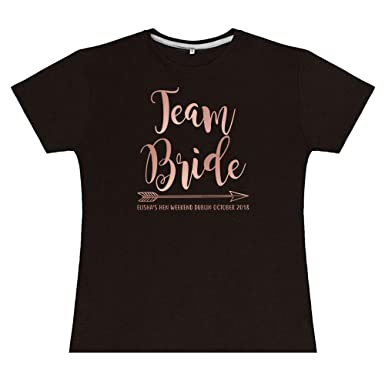 c43b6a500bd2f Team Bride Rose Gold Matching Personalised Custom Tribe Hen Do T Shirt Top