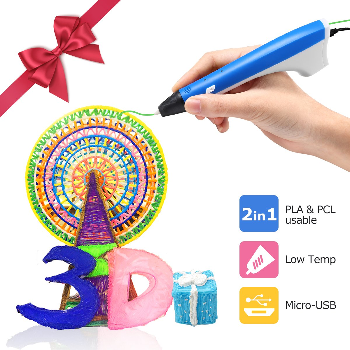 Ailink 3D Printing Pen, Upgrade Intelligent 3D Pen with 1.75mm PLA/PCL Filament, One Button Operation No Burn No Toxic No Clog Gifts for Boys Girls (Blue) GLOBAL