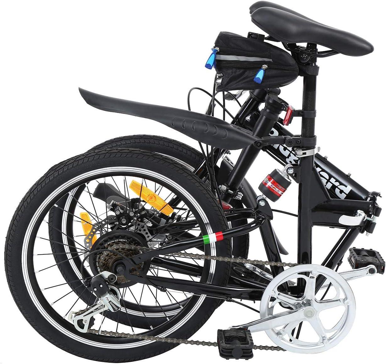 Ridgeyard Bicicleta plegable 20 pulgadas de 6 velocidades Bici plegable Bell de la bici Luz de la bater/ía del LED asiento bag