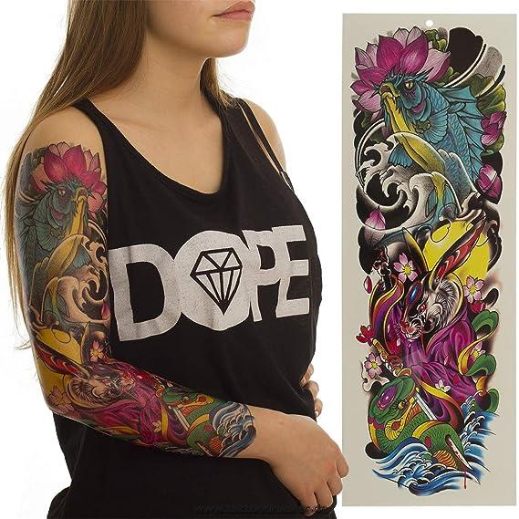 Tatuaje de brazo XXL para carpas con forma de conejo y serpiente ...