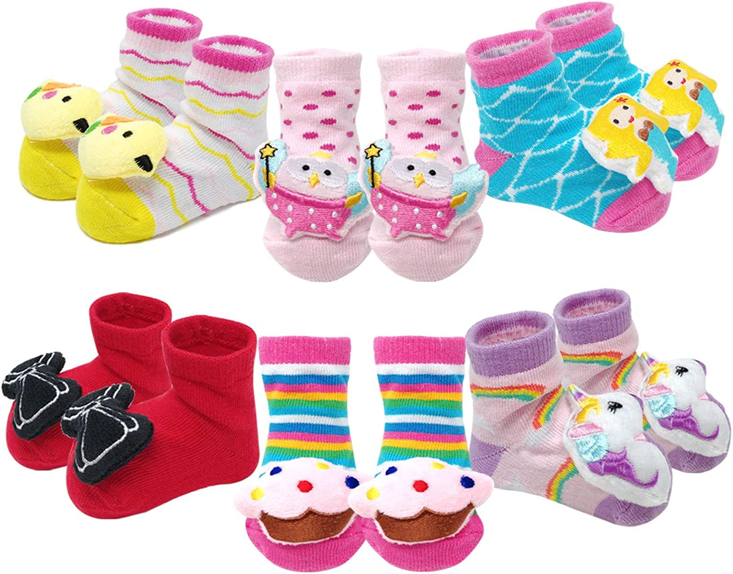 Bowbear Adorable Baby 6 Pair Non-Skid Bootie Socks