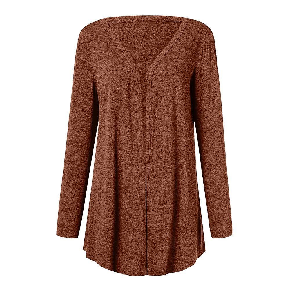2019 Plus Size Rain Jackets for Women Casual Long Sleeve Pure Color Fit Open Front Coat Outwear S Brown