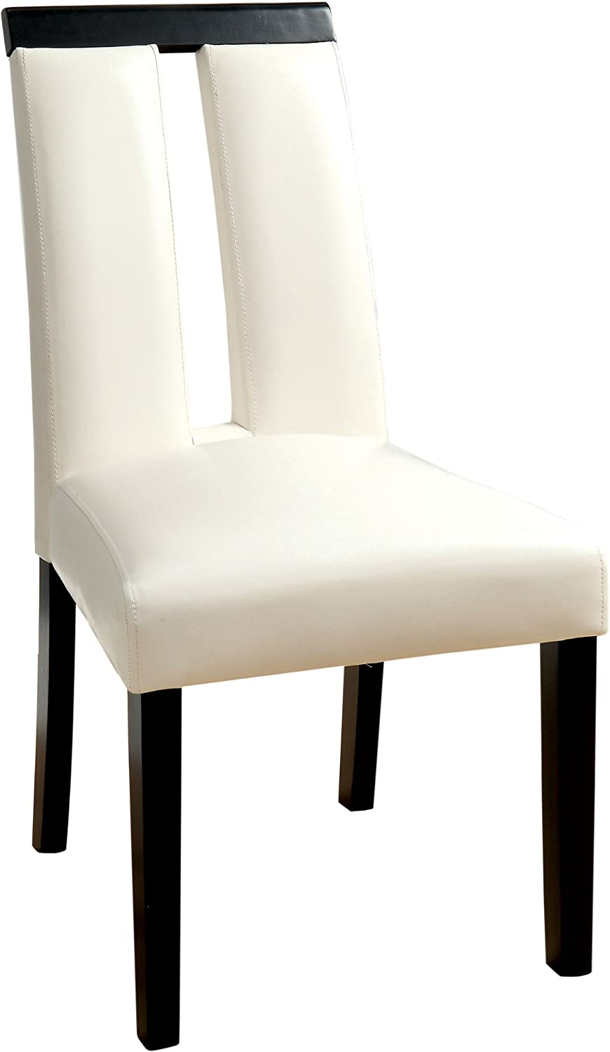 Furniture of America Brighton Leatherette Dining Side Chair, White, Set of 2
