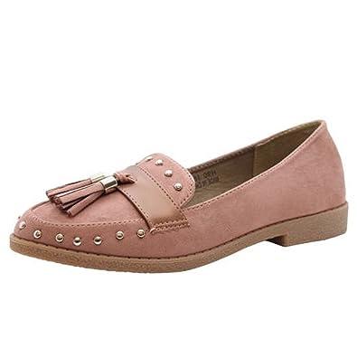 Señoras Pisos Ponerse Pernos Franja Borlas Mocasines Oficina Zapatillas Zapatos Tamaño 36-41: Amazon.es: Zapatos y complementos