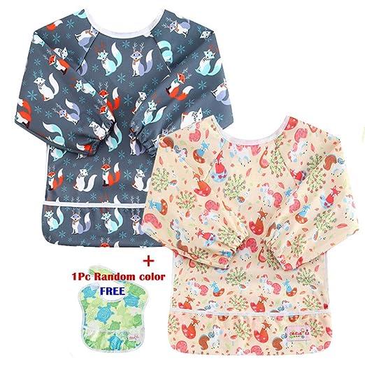 193dbc855b63 Amazon.com  OHBABYKA Toddler Baby Waterproof Sleeved Bib