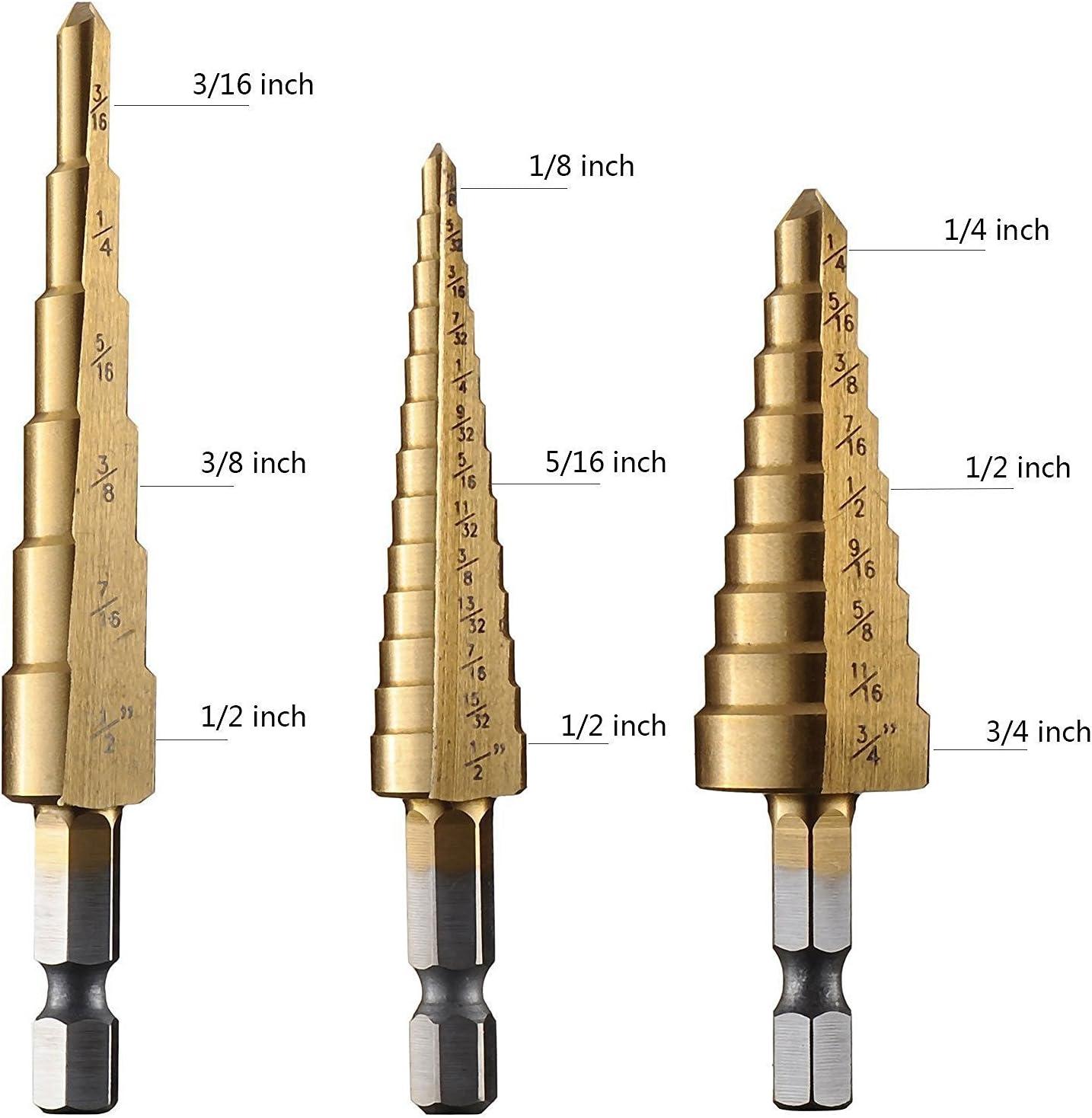 "3//16/"" to 1//2/"" Titanium Step Drill Bit Unibit High Speed 6 Different Sizes"