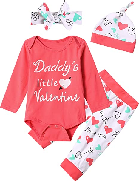 d91e63279 Valentine's Day Outfit Set Baby Girls Daddy's Little Valentine Tops Pant  Clothing Set (Pink,