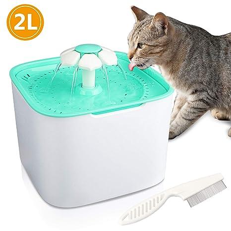 Gifort Fuente de Agua para Mascotas, Fuente de Agua Silenciosa para Mascotas Sin Ruido,