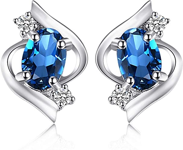 CS-DB Silver Natural Oval Topaz Gemstone Charm Gift Stud Charm Earrings