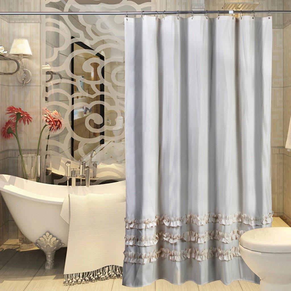 Curtain Lace Striped Shower Curtain, Thickening Bathroom Insulation Curtain, Waterproof Mildew Curtain, Send Metal Circular Hook Shower Equipment (Size : 200200cm)