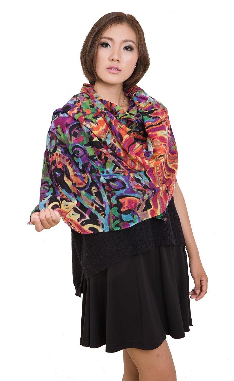 "Women Merino Wool Scarf Soft Large 74"" x 28"" Floral Print Scarves Shawl Muffler"