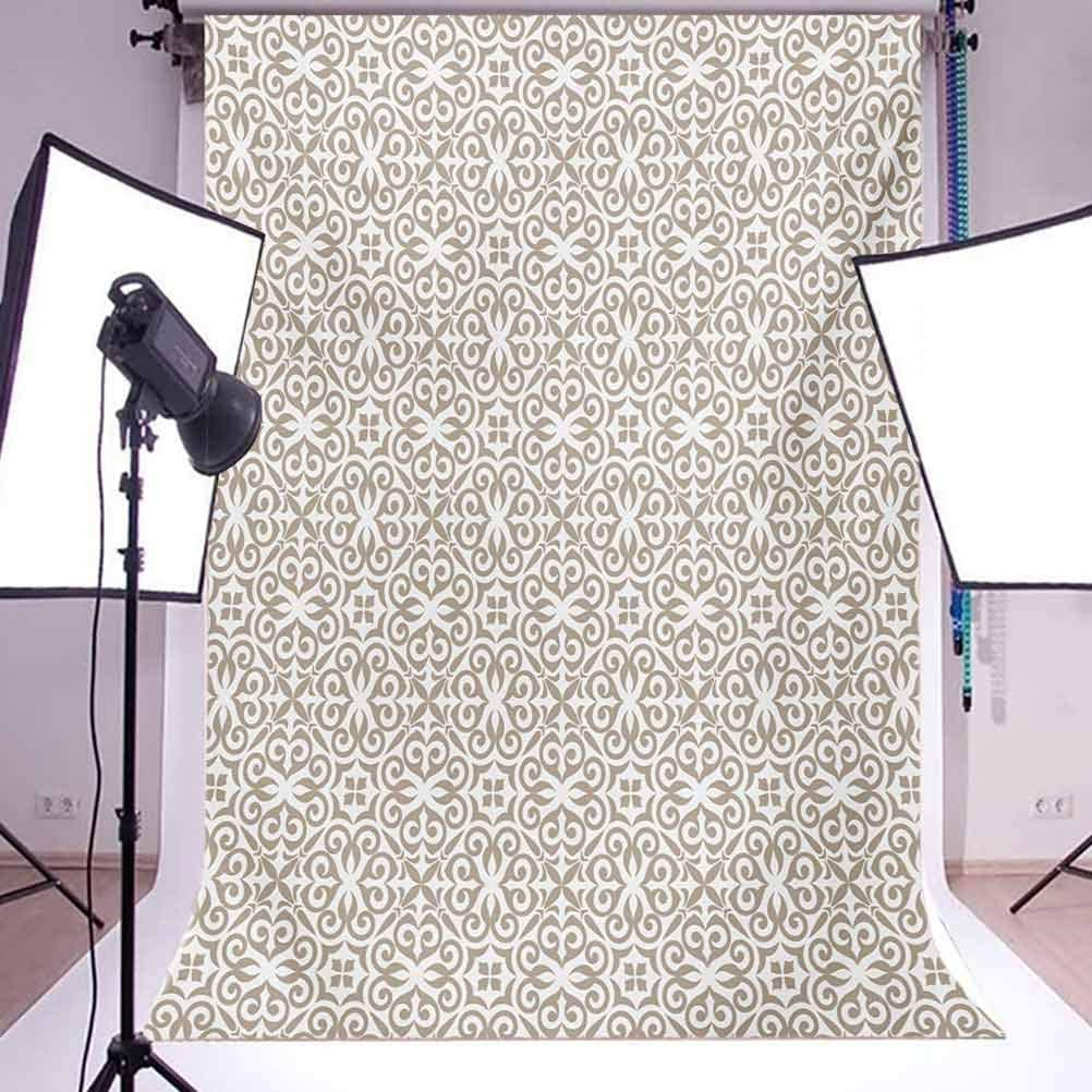 10x15 FT Backdrop Photographers,Timeless Antique Motifs with Curves and Swirls Baroque Medieval Inspirations Background for Baby Shower Bridal Wedding Studio Photography Pictures Pale Brown White