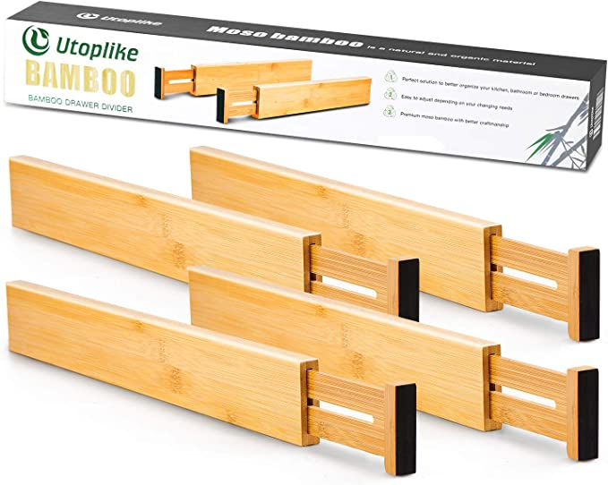 Utoplike 4 Pack Bamboo Kitchen Drawer Dividers(12.25-17.25IN),Adjustable Drawer Organizers,Spring Loaded,Works in Kitchen,Dresser,Bathroom,Bedroom,Baby Drawer,Desk