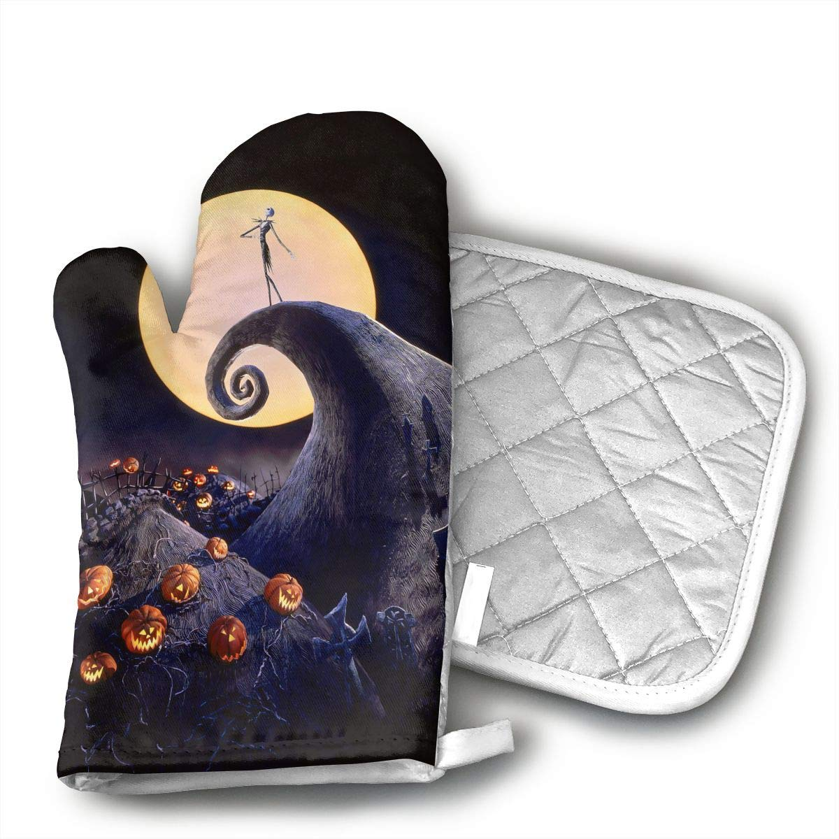 KUGUANG The Nightmare Before Christmas@Oven Mitts, Non-Slip Silicone Oven Mitts, Extra Long Kitchen Mitts, Heat Resistant to 500aF Kitchen Oven Gloves