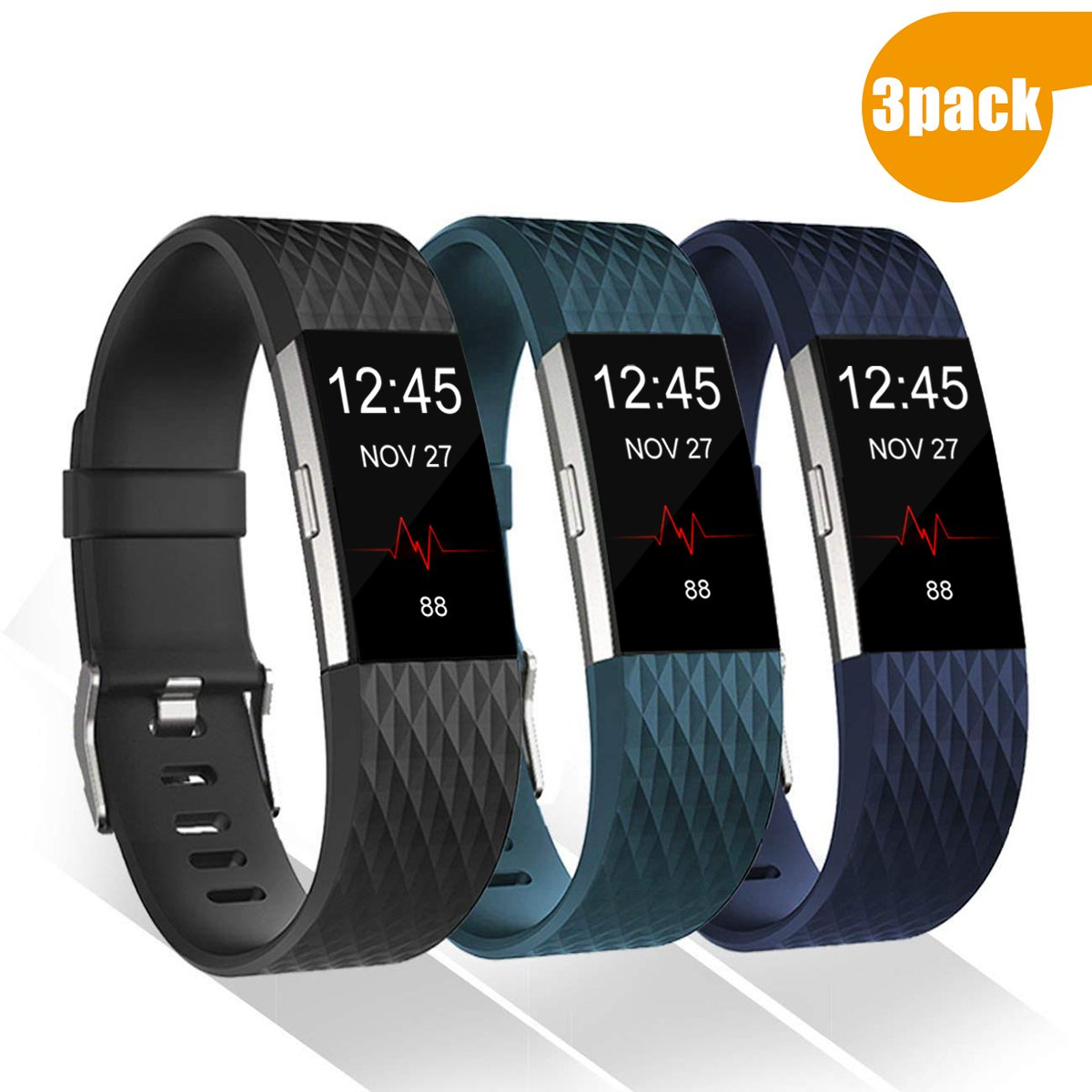 Geak Fitbit Charge 2バンド、交換アクセサリーバンドfor Fitbit Charge 2、クラシックリストバンド安全なシリコンファスナーメタルClasps for Fitbit Charge 2 B0791BYL4K Small|#Diamond-3Pack (Black, Slate, Navy Blue) #Diamond-3Pack (Black, Slate, Navy Blue) Small