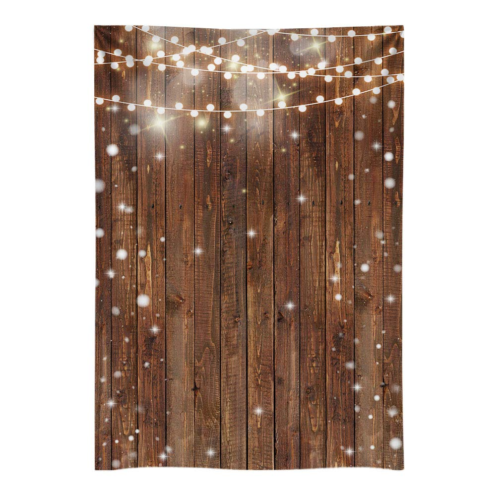 Funnytree 5X7FT Durable Fabric Photography Backdrops Wood Glitter Bright Lights Wrinkle Free Background for Wooden Fence Wall Wedding Bridal Shower Photographer Photoshooting Photo Studio by Funnytree
