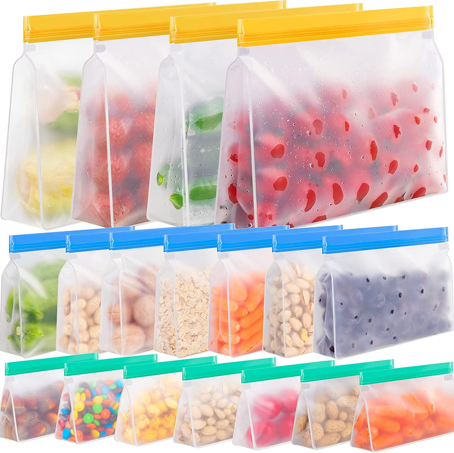 Reusable Storage Bags, 18 Pack Reusable Freezer Bags Stand Up, Leakproof Reusable Bags Silicone, Reusable Gallon Bags, Reusable Sandwich Bags, Reusable Food Storage Bags