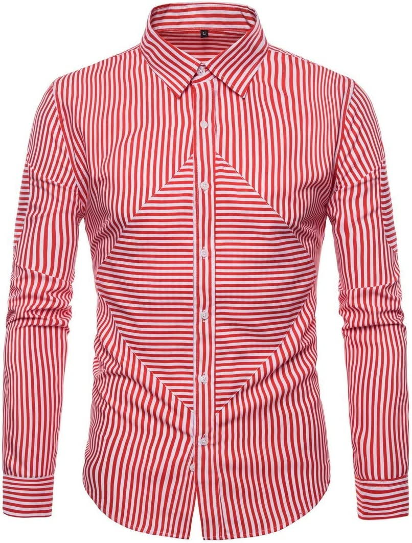 Color : Red, Size : L Mens Shirt Long Sleeve 2018 Men Shirts Tops Casual Male Slim Fit Fashion Stripe Chemise Mens Dress Shirts