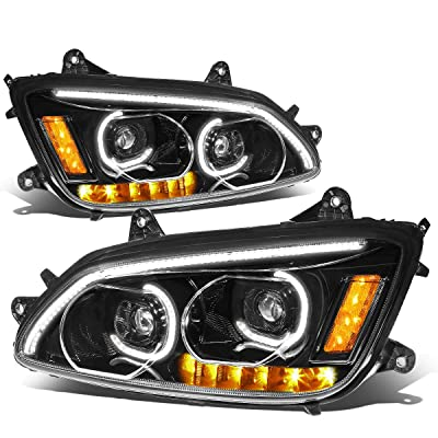 DNA Motoring HL-HAY-005-BK LED DRL + Turn Signal Dual Projector Headlight Lamp Set for 08-19 Kenworth T170 T270 T300 T370 660: Automotive