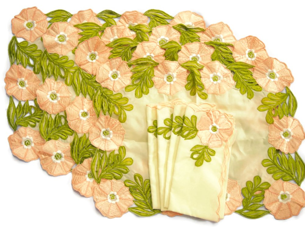 Thailand Handicraft - Set of 4 Linen Vintage Dining Table Placemats and Cloth Napkins - Pink Flower