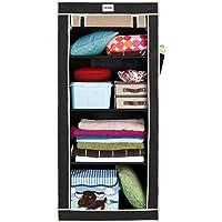 FOLDDON FD121 Collapsible Cloth Storage Wardrobe Cupboard Closet with 4 Racks Single Door Design. (Black & Beige)