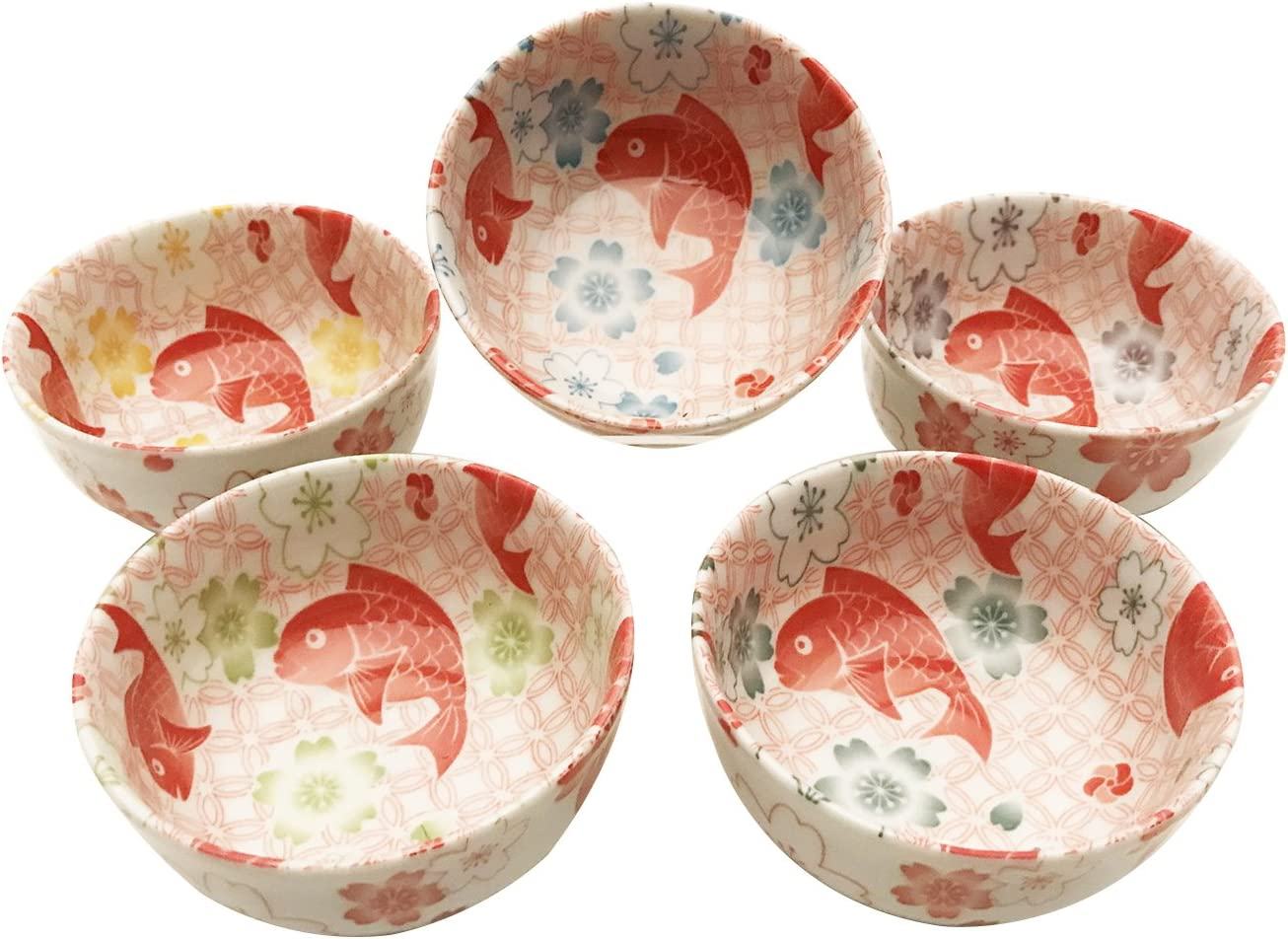 """Japanese Rice Soup Snack Sauce Bowl 3-5//8/""""D Porcelain Blue Fish Made in Japan"""