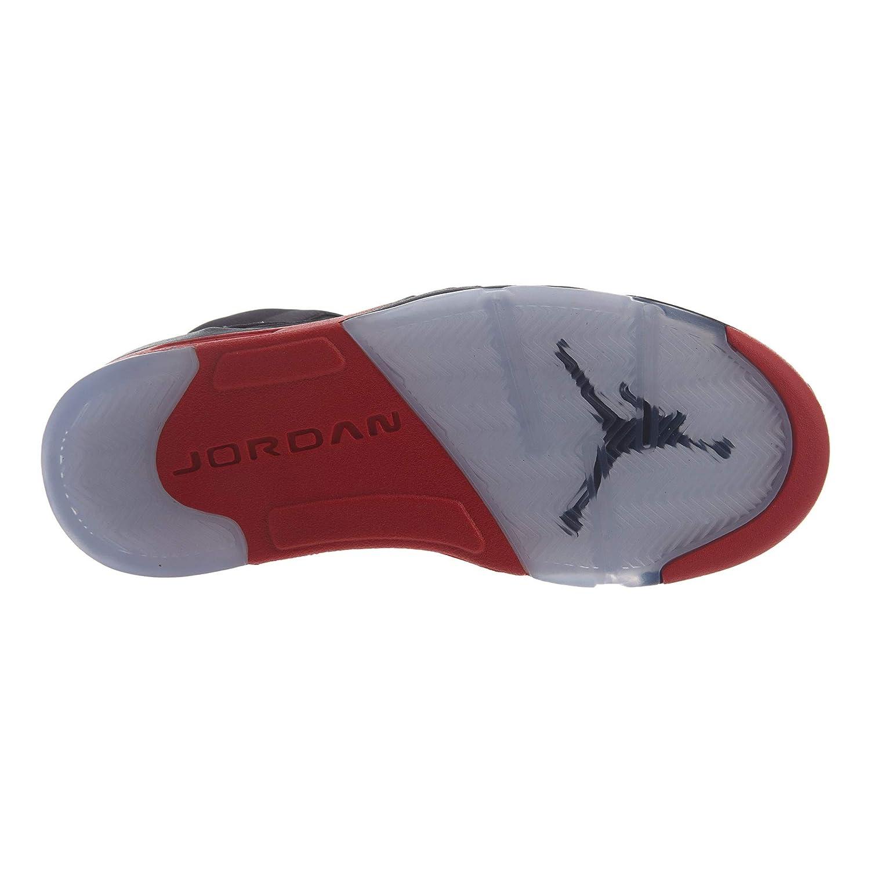 timeless design 2bd6d d83f9 Amazon.com  Nike Men s Air Jordan 5 Retro Satin Black University Red  136027-006 (Size  9.5)  Clothing