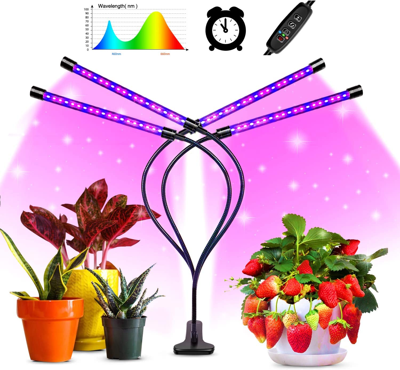 shenkey Lámpara de Plantas,temporización de Cuatro Cabezales 80 Luces de Cultivo de Plantas LED para Plantas de Interior con Espectro Rojo Azul,Cuello de Cisne Ajustable,10 Niveles Regulables