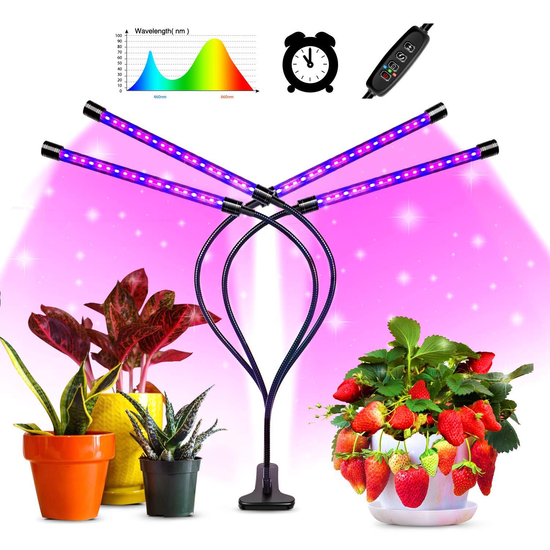 luz artificial para plantas de germinaci/ón L/ámpara de Plantas,45W L/ámpara de cultivo de plantas con espectro completo de tipo solar con temporizador 3H//9H//12H floraci/ón y fructificaci/ón pl/ántulas