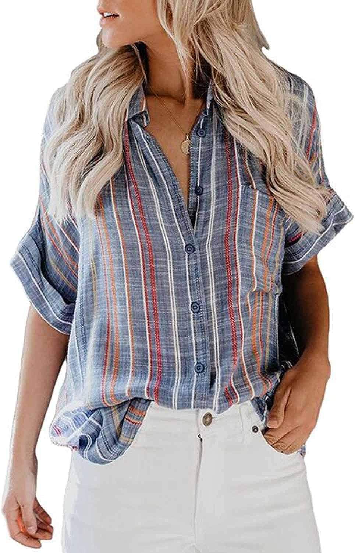 CORAFRITZ Camisa de rayas verticales de moda para mujer manga ...