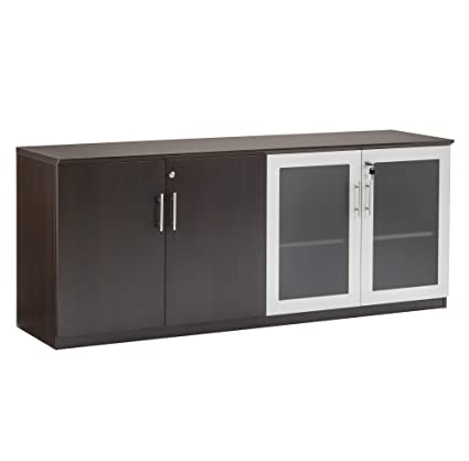 Mayline MVLCLDC Medina Low Wall Cabinet With 2 Wood And 2 Glass Doors,  Mocha Laminate