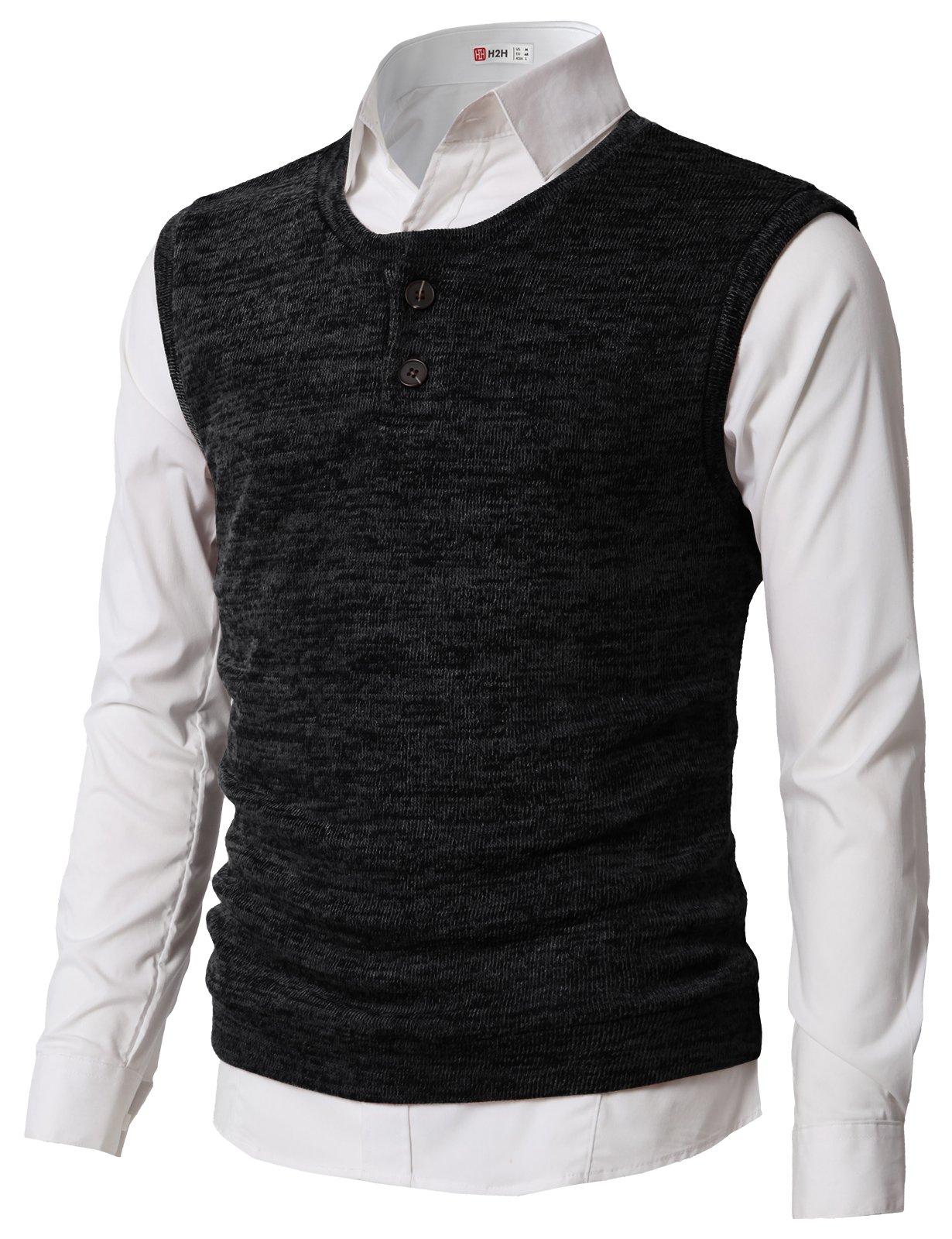 H2H Men's Solid Color Regular Fit U Neck Pullover Casual Sweater Vest Black US L/Asia XL (CMOV043)