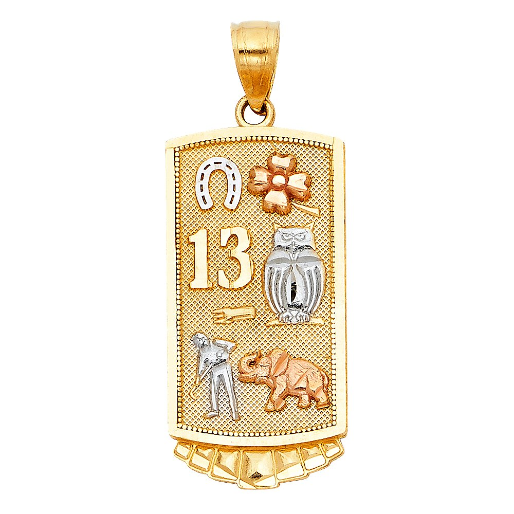 27mm x 18mm Million Charms 14K Tri-Color Gold Lucky Charm Pendant