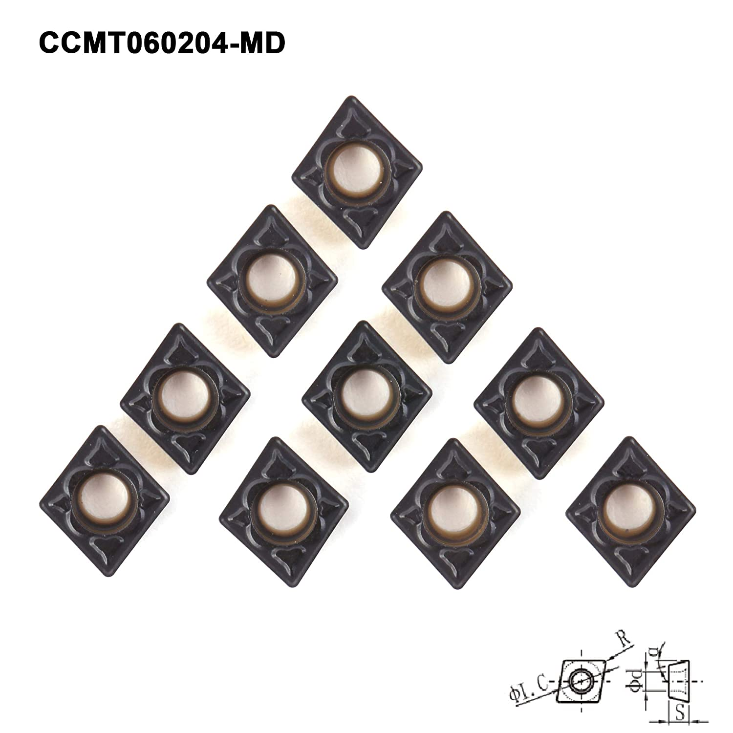 FomaSP CCMT21.51-MD CNC Indexable Lathe Turning Carbide Inserts for Steel,10pcs