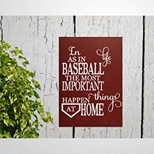 DONL9BAUER Wood Sign Baseball Sign. in Life As in Baseball The Important Things Happen at Home Wood Plaque Shabby Chic Sign Wall Decor Wall Hanging Indoor Outdoor Home Decor