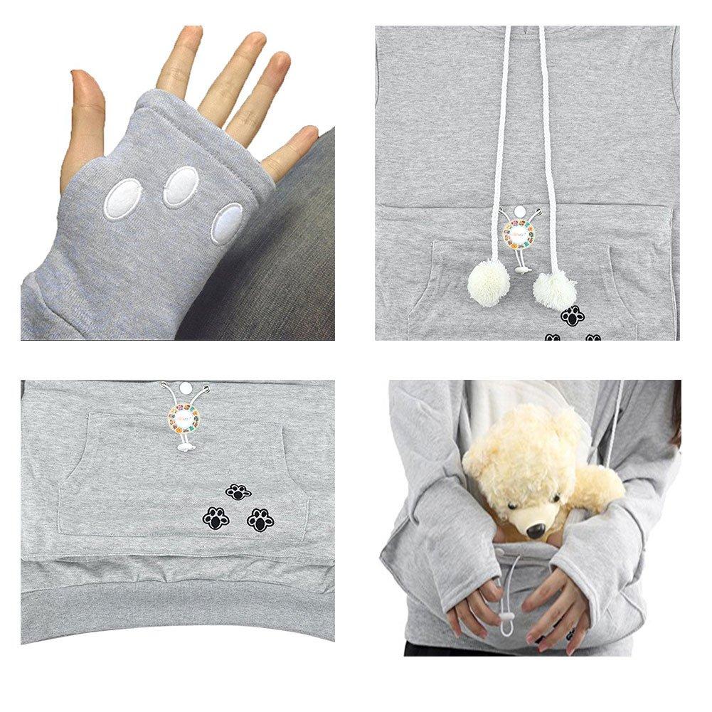 Womens Pet Carrier Shirts Kitten Puppy Holder Animal Pouch Hood Sweatshirt