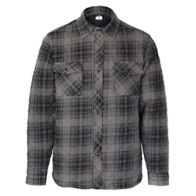 Lee Cooper Mens Quilted Padded Shirt Long Sleeve Casual Top At