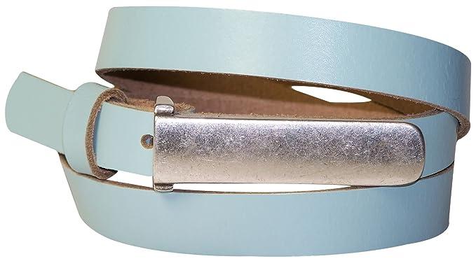 7dff5ff7a1aa8c Fronhofer schmaler Damengürtel 2 cm Gürtel schmale silberne Gürtelschnalle, echt  Ledergürtel 18177, Größe: