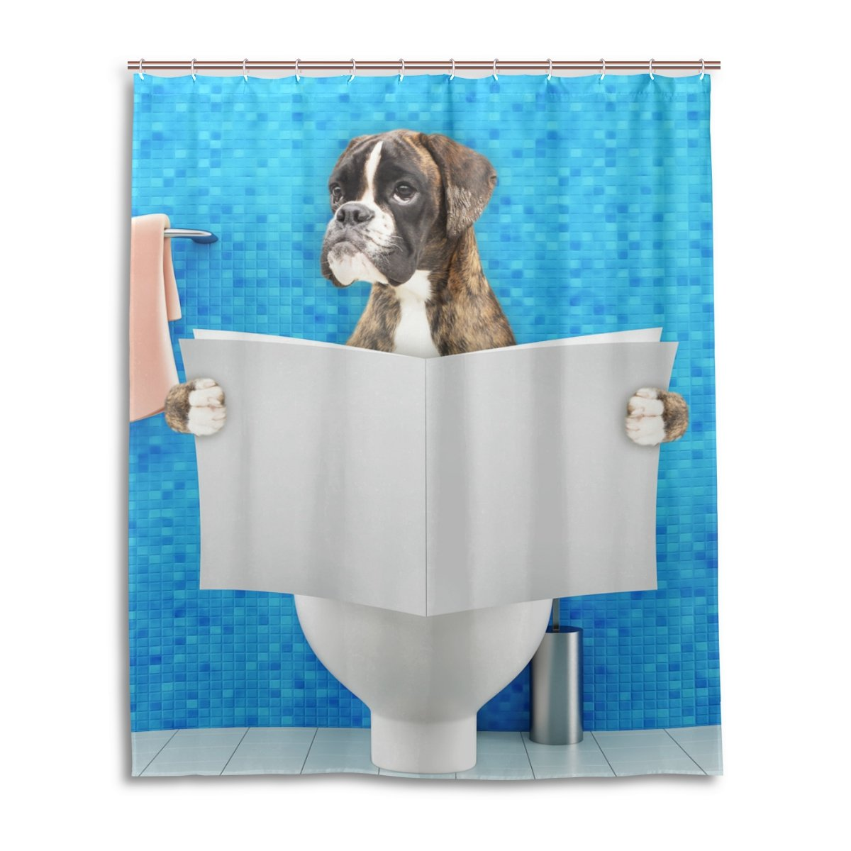 Chen Miranda Waterproof Shower Curtain Everday Use Boxer Dog Bathroom Set Polyester Fabric Hooks