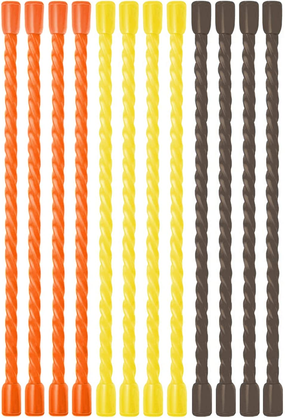 VALORILIMIT 12-inch Reusable Silicone Twist Tie, Pack of 12, Bendable Gear Silicone Ties, Cable Tie Straps, Multi-Purpose for Home, Office, Travel, Garden - Yellow Orange Grey