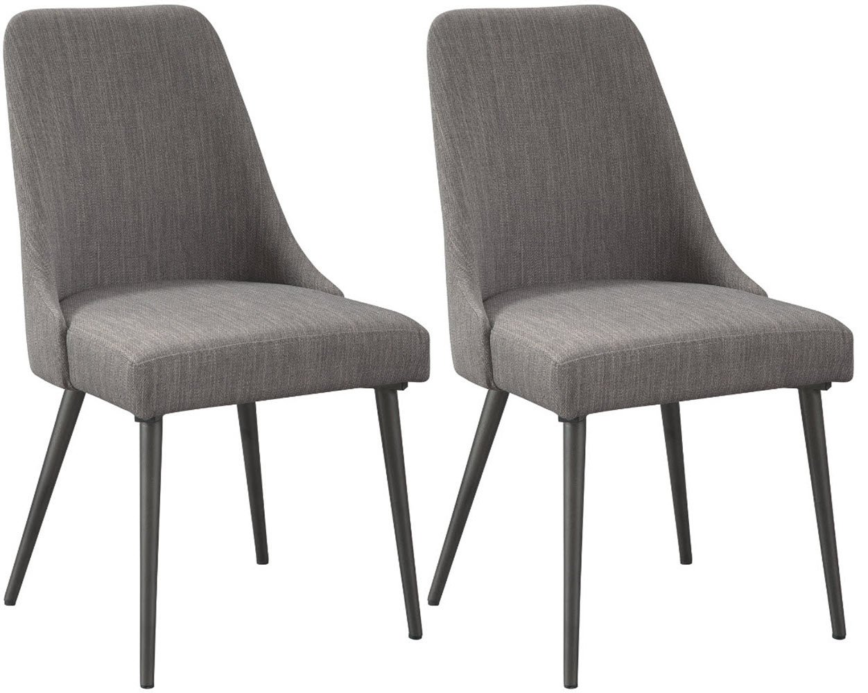 Signature Design by Ashley D605-01 Dining Chair, Coverty - UPHOLSTERED DINING ROOM CHAIRS: Rewind time-without sacrificing style. These chairs' textural gray fabric bring comfort to dinner in a minimalist, trendy design HANDSOMELY CRAFTED: Foam cushioned seat is upholstered in polyester and made with a metal frame in a dark gray powder coated finish MID CENTURY MODERN CHIC: Designed with a contoured wraparound form and canted legs, it's sure to tie your bistro or cafe seating together with cool, mid-century modern flair - kitchen-dining-room-furniture, kitchen-dining-room, kitchen-dining-room-chairs - 71AgdVfOqFL -