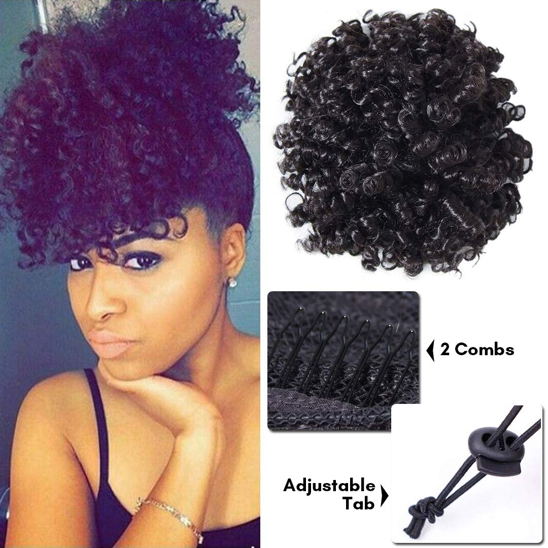 BuLaDou High Afro Puff Drawstring Ponytail Short Kinky Curly Human Hair Bun Clip in on Wrap Updo Hairpieces for African American Women Natural Color 6inch by BuLaDou