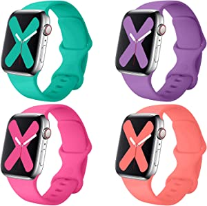 Misker 4 Pack Sport Band Compatible with for Apple Watch Band 38mm 40mm 42mm 44mm, Soft Silicone Sport Strap Compatible with iWatch Series 5 4 3 2 12