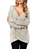 Womens Oversized Front Cross Wrap Long Batwing Sleeve Sweater Loose Knit Pullover Blouse Tops