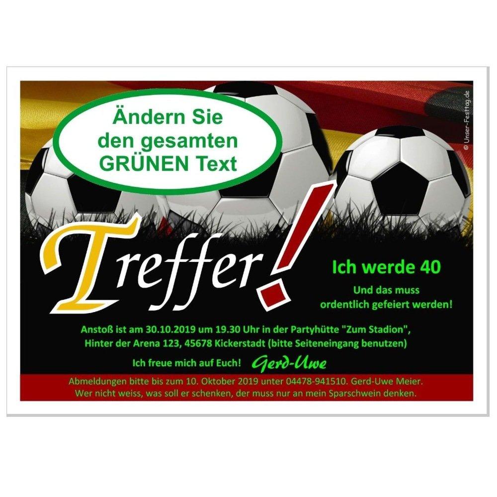 Geburtstagseinladung für für für Fußball Kicker Fans und Freunde - Fußball Deutschland, 100 Karten - 17 x 12 cm B01DMMPQ06 | Kunde zuerst  | Niedrige Kosten  | Günstige Bestellung  cc0751